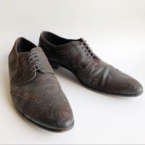 Dolce & Gabbana Brown Sueded Leather Wing Tip 10